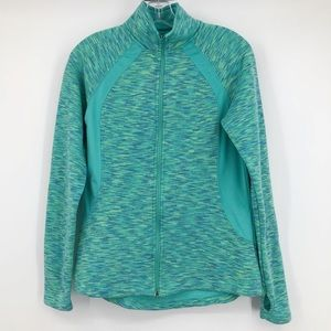 Tek Gear Jacket Full Zip Up Space Dye Knit Green M